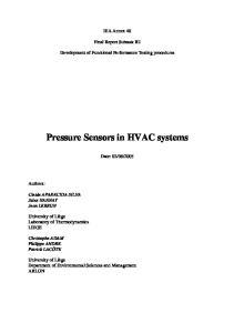 Pressure Sensors in HVAC systems