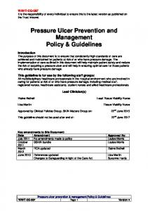 Pressure Ulcer Prevention and Management Policy & Guidelines