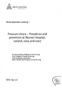 Pressure Ulcers Prevalence and prevention at Akureyri hospital, Iceland, 2005 and 2007