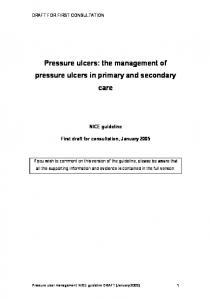 Pressure ulcers: the management of pressure ulcers in primary and secondary care