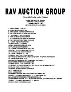Prestige Auction Catalogue. Auction Date VIEWING 2 HOURS PRIOR Auction Code: RAV106 GST INCLUDED IN SALE PRICE