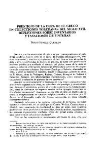 PRESTIGIO DE LA OBRA DE EL GRECO EN COLECCIONES TOLEDANAS DEL SIGLO XVII. REFLEXIONES SOBRE INVENTARIOS Y TASACIONES DE PINTURAS