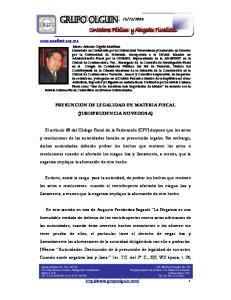 PRESUNCION DE LEGALIDAD EN MATERIA FISCAL (JURISPRUDENCIA NOVEDOSA)