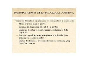PRESUPOSICIONES DE LA PSICOLOGIA COGNTIVA