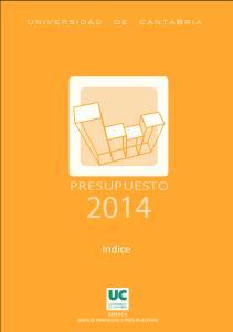 PRESUPUESTO 2014 PRESUPUESTO. Indice