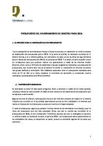 PRESUPUESTO DEL AYUNTAMIENTO DE URRETXU PARA 2016