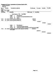 Presupuesto del Excmo. Ayuntamiento de Carmona. Ejercicio 2014