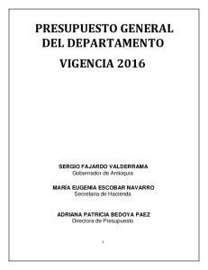 PRESUPUESTO GENERAL DEL DEPARTAMENTO VIGENCIA 2016