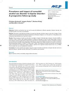 Prevalence and impact of comorbid alcohol use disorder in bipolar disorder: A prospective follow-up study