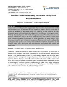 Prevalence and Pattern of Sleep Disturbances among Mood Disorder Inpatients