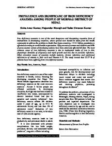 PREVALENCE AND SIGNIFICANC OF IRON DEFICIENCY ANAEMIA AMONG PEOPLE OF MORNAG DISTRICT OF NEPAL