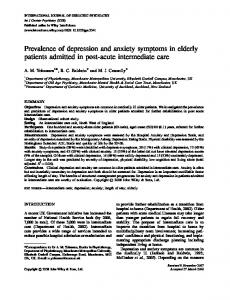 Prevalence of depression and anxiety symptoms in elderly patients admitted in post-acute intermediate care