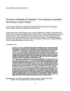 Prevalence of hepatitis B & hepatitis C virus infections in potential blood donors in rural Vietnam