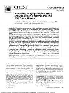Prevalence of Symptoms of Anxiety and Depression in German Patients With Cystic Fibrosis