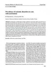 Prevalence of systemic disorders in cats with oral lesions