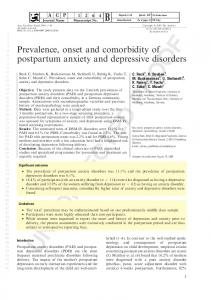 Prevalence, onset and comorbidity of postpartum anxiety and depressive disorders