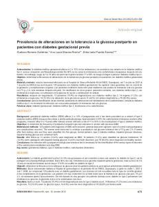 Prevalencia de alteraciones en la tolerancia a la glucosa postparto en pacientes con diabetes gestacional previa
