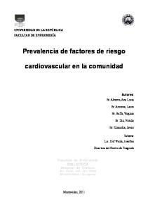Prevalencia de factores de riesgo. cardiovascular en la comunidad