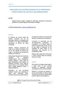 PREVALENCIA DE FACTORES DE RIESGO EN EL SINDROME DE MUERTE SUBITA DEL LACTANTE. RECOMENDACIONES