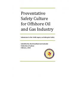 Preventative Safety Culture for Offshore Oil and Gas Industry