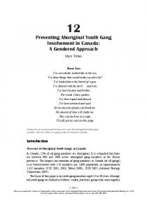 Preventing Aboriginal Youth Gang Involvement in Canada: A Gendered Approach