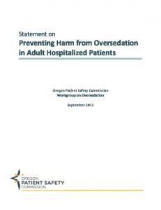 Preventing Harm from Oversedation in Adult Hospitalized Patients