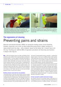 Preventing pains and strains