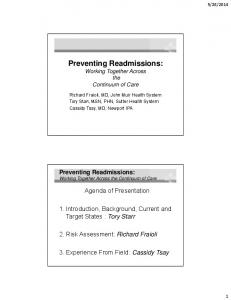 Preventing Readmissions: