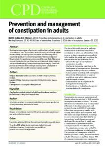 Prevention and management of constipation in adults