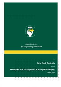 Prevention and management of workplace bullying