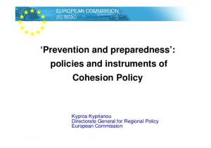 Prevention and preparedness : policies and instruments of Cohesion Policy