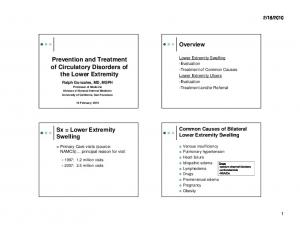 Prevention and Treatment of Circulatory Disorders of the Lower Extremity