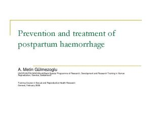 Prevention and treatment of postpartum haemorrhage