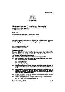 Prevention of Cruelty to Animals Regulation 2012