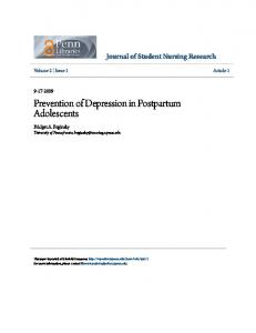 Prevention of Depression in Postpartum Adolescents