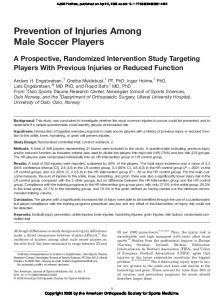 Prevention of Injuries Among Male Soccer Players