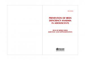 PREVENTION OF IRON DEFICIENCY ANAEMIA IN ADOLESCENTS