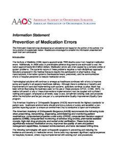 Prevention of Medication Errors