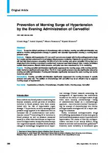 Prevention of Morning Surge of Hypertension by the Evening Administration of Carvedilol