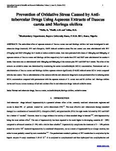 Prevention of Oxidative Stress Caused by Antitubercular Drugs Using Aqueous Extracts of Daucus carota and Moringa oleifera
