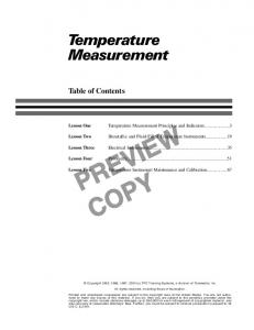 PREVIEW COPY. Temperature Measurement. Table of Contents. Temperature Measurement Principles and Indicators...3