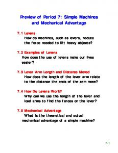 Preview of Period 7: Simple Machines and Mechanical Advantage