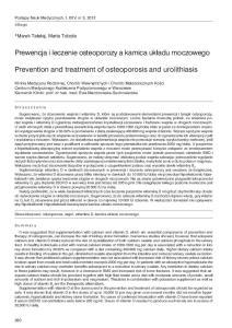 Prewencja i leczenie osteoporozy a kamica układu moczowego. Prevention and treatment of osteoporosis and urolithiasis