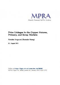 Price Linkages in the Copper Futures, Primary, and Scrap Markets