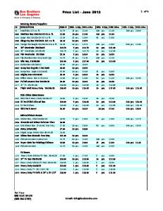 Price List - June 2013