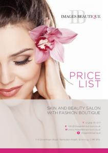 PRICE LIST SKIN AND BEAUTY SALON WITH FASHION BOUTIQUE. T E W