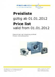 Price list valid from