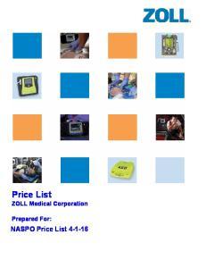Price List ZOLL Medical Corporation. Prepared For: NASPO Price List