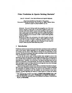 Price Prediction in Sports Betting Markets