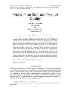 Prices, Plant Size, and Product Quality